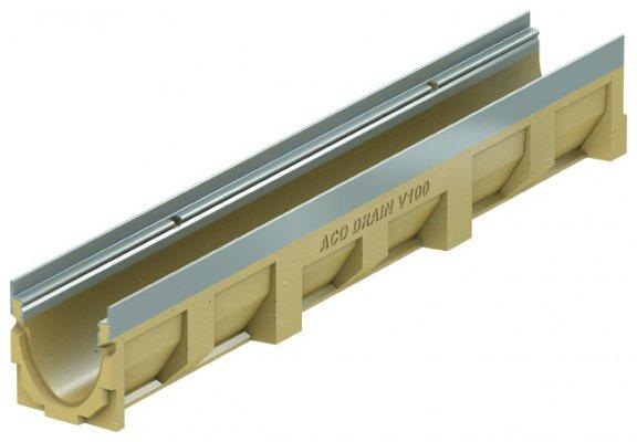 ACO DRAIN Multiline V 100 Korytko z polimerbetonu V 100 1 Krawędzie ze stali ocynkowanej ACO P12301